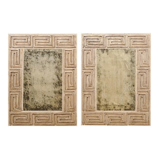 20th Century Carved Wood Greek Key Motif Antiqued Mirrors - a Pair For Sale