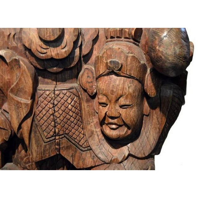 Pair of Antique Hand-Carved Wood Temple Corbels From China, 19th Century For Sale - Image 10 of 11