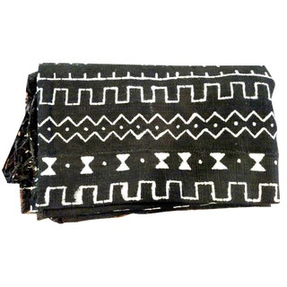 Boho Chic African Dark Brown and White Mudcloth Textile