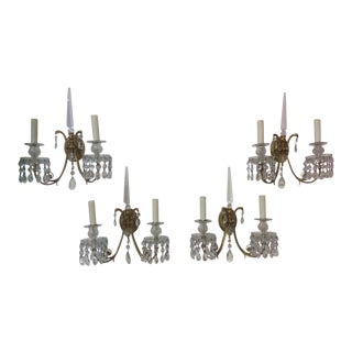 Set of Four French Bronze and Crystal Wall Sconces For Sale