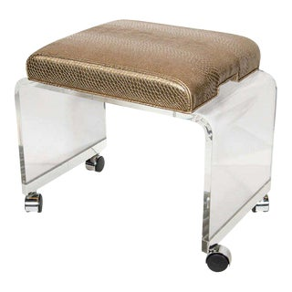 Mid-Century Modernist Waterfall Lucite Stool with Faux Bronze Metallic Python For Sale