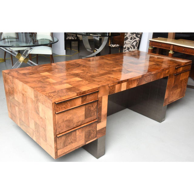 Modern American Modern Burled Walnut and Pewter Cityscape Desk, Paul Evans For Sale - Image 3 of 9