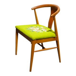 Vintage Mid Century Danish Modern Style Green Floral Needlepoint Accent Chair For Sale