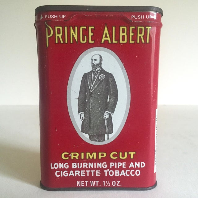 This vintage 1970's Prince Albert Crimp Cut lithograph metal tobacco tin oval box is a very special and unique piece to...