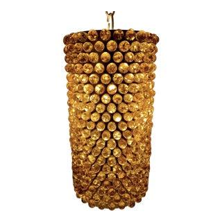 Vintage Mid-Century Modern Amber Crackle Glass Marble Cluster Cylinder Lounge Swag Lamp For Sale