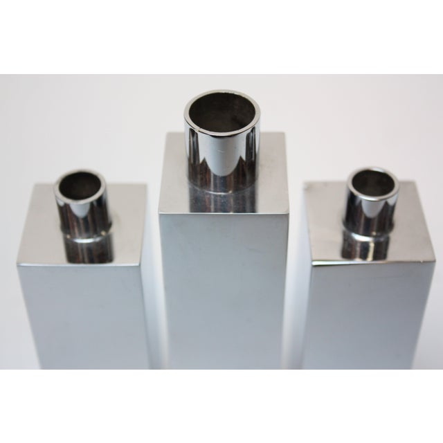 Hans-Agne Jakobsson Swedish Chrome-Plated Candle Holders - Set of 3 For Sale In New York - Image 6 of 11