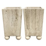 Image of Vintage Travertine Planters With Solid Ball Feet — a Pair For Sale