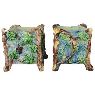 19th Century French Country Majolica Palissy Jardinieres - a Pair For Sale