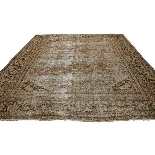 Contemporary Distressed Antique Persian Mahal Rug with Modern Industrial Style For Sale - Image 3 of 8