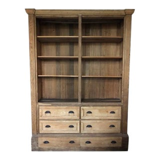 Large Frenck Oak Cabinet With Chest of Drawers For Sale