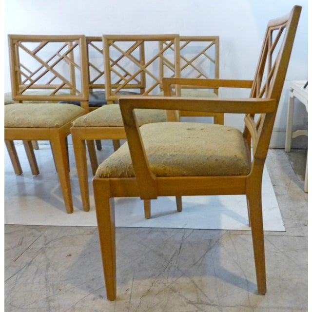 1940s Landstrom Mid-Century Modern Lattice Back Dining Chairs - Set of 8 For Sale - Image 5 of 8