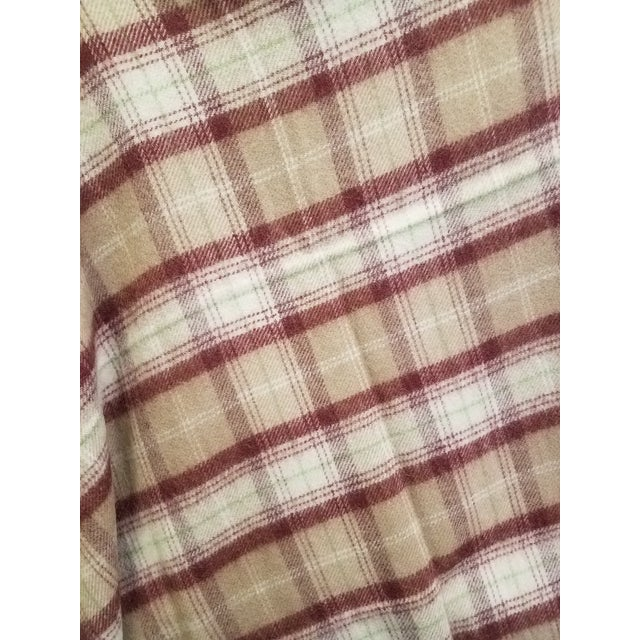 Wool Throw Green, Red, Brown and White in a Plaid Design - Made in England For Sale In Dallas - Image 6 of 11