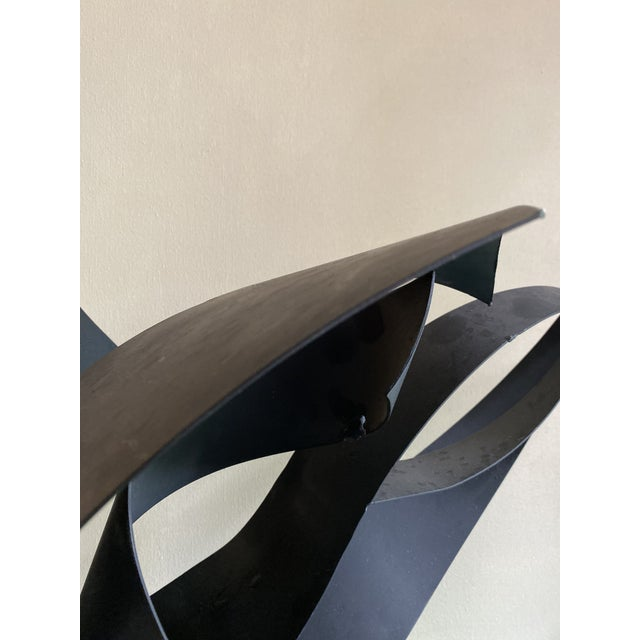 Vintage Abstract Black Metal Sculpture For Sale - Image 4 of 7