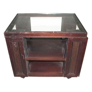Glass Top Wood Dry Bar For Sale