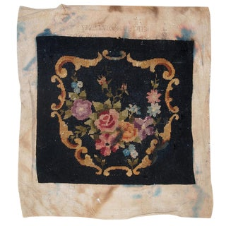 1930s Handmade Antique English Needlepoint For Sale