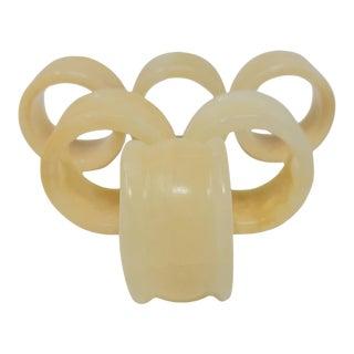 Vintage Alabaster Napkin Rings Set of 6 For Sale