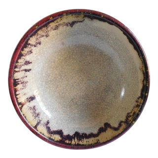 Vintage Claret and Taupe Heavy Glazed Pottery Bowl For Sale