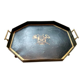 1940s English Traditional Hand Painted Footed Tole Tray