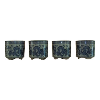 Blue and White Asian Flower Pots - Set of 4 For Sale