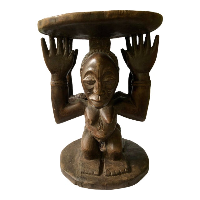 Early 20th Century African Songye-Luba Tribal Male Female Caryatid Figural Stool For Sale