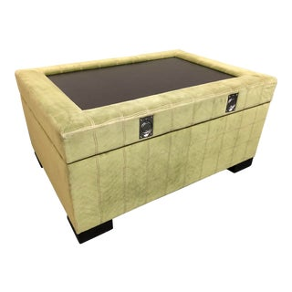 Large Custom Green Velour Storage Ottoman For Sale