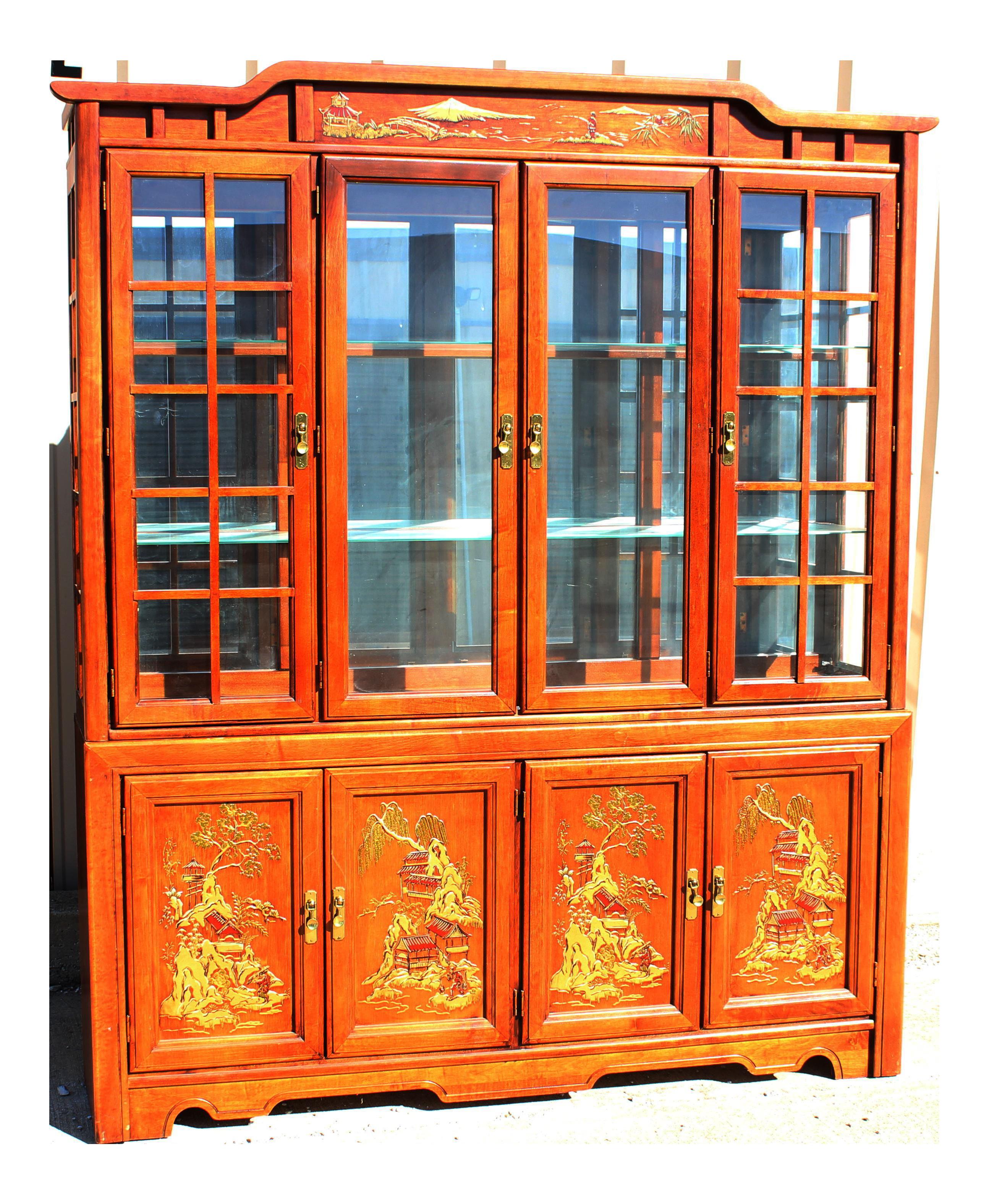 Vintage Broyhill Oriental Scene Dining Set For Sale
