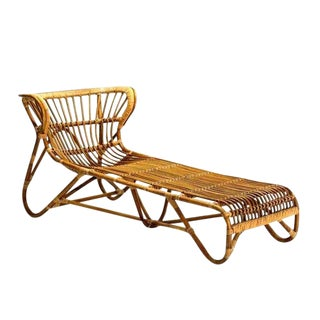 Mid Century Modern Franco Albini Chaise Lounge Sculpted Bamboo Daybed For Sale