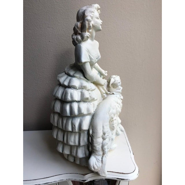 "Plaster Lady and Greyhound - Vintage Figurine - 10.5"" x 6"" Wear and plaster flaws as seen in photos."
