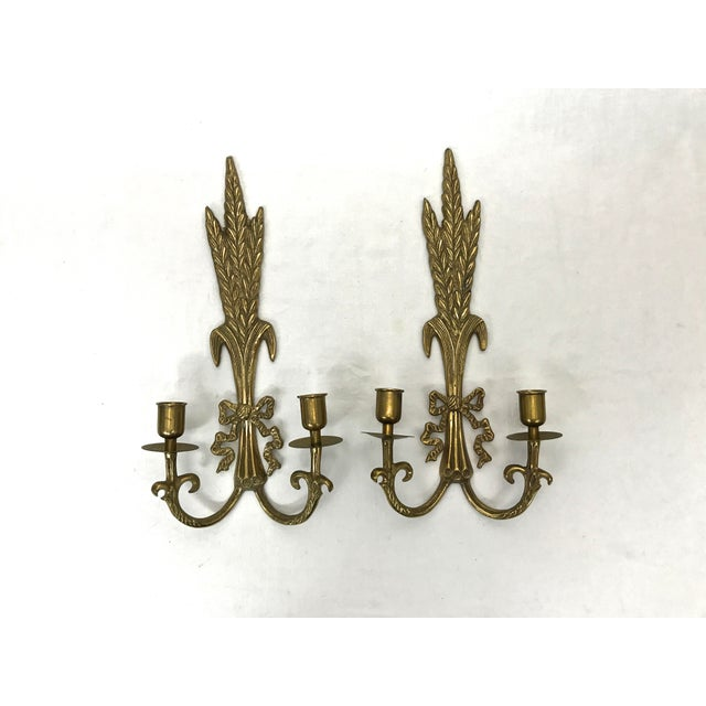 French Brass Wall Sconces - A Pair For Sale - Image 3 of 8