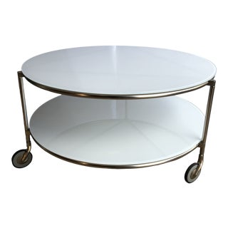 1980s Postmodern White Glass Two Tier Low Rider Coffee Table on Wheels For Sale
