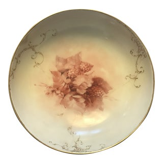 Limoges Pink Gold Berries Signed Footed Bowl For Sale