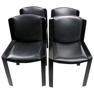 Classic Colombo Model 300 Dining Chairs Black Lacquer With Vinyl Upholstery For Sale