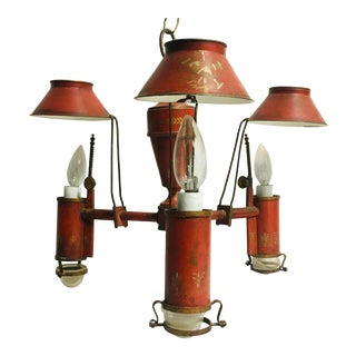 Vintage Red Painted Tole Bouillotte Chandelier For Sale