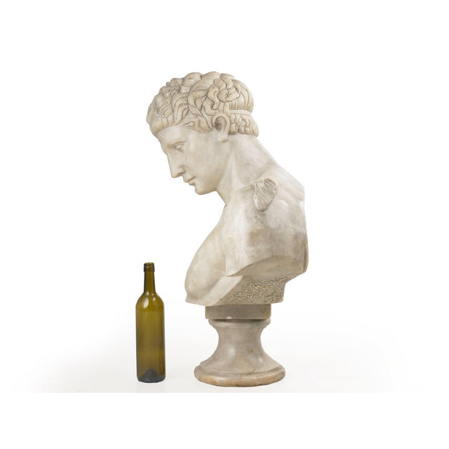 Classical Marble Bust of Hermes Holding Dionysus After the Antique by Praxiteles For Sale - Image 4 of 13