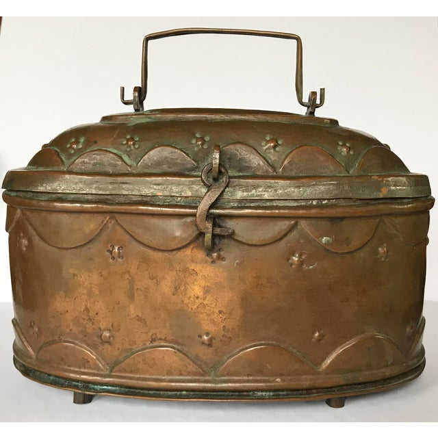 Copper Vintage Turkish Copper Bath Lidded Soap Box For Sale - Image 7 of 8