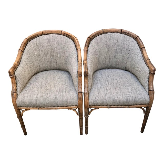 Vintage Elm Carved Bamboo Style Linen Upholstered Chairs - a Pair For Sale