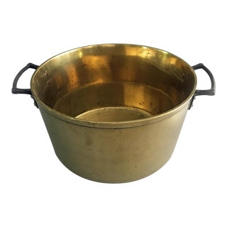 Antique Brass Pan With Iron Handles For Sale
