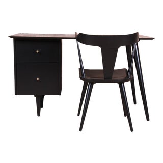Paul McCobb Planner Group Mid-Century Modern Black Lacquered Writing Desk and Chair, Newly Restored For Sale