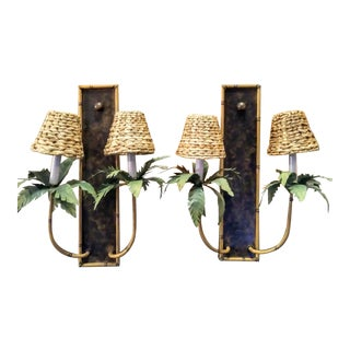 A Pair Large Vintage Palm Beach Regency Faux Bamboo Palm Tree Wired Wall Sconce Lights For Sale