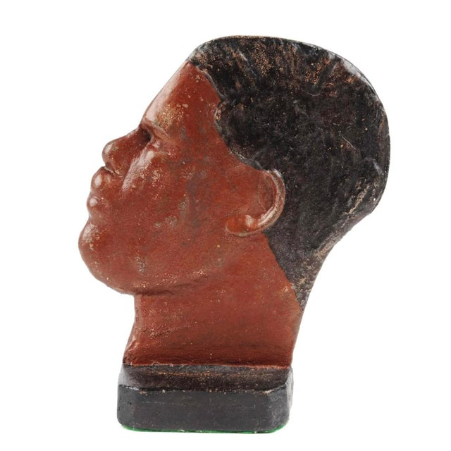Figurative 1930s Boho Chic Cast-Iron Doorstop of the Heavyweight Boxer Joe Louis For Sale - Image 3 of 4