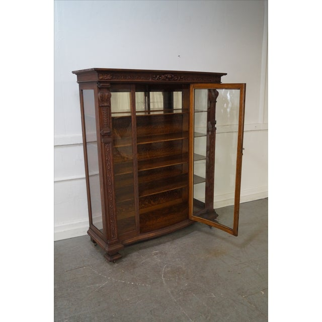Antique Renaissance Oak Carved Bow Door Cabinet - Image 7 of 10