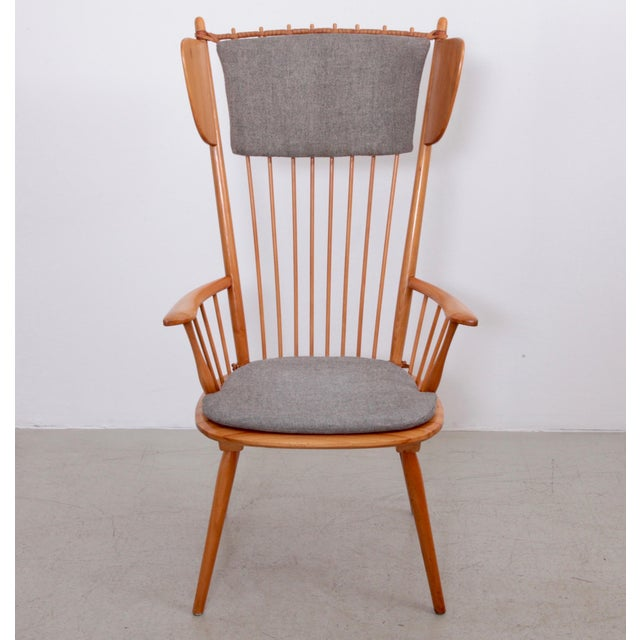 Rare high wingback edition of the architectural Arts & Crafts chair by Albert Haberer for Hermann Fleiner, Stuttgart,...