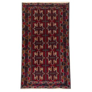 Traditional Hand Knotted Red, Navy, White and Brown Baluchi Rug - 3′5″ × 6′8″ For Sale
