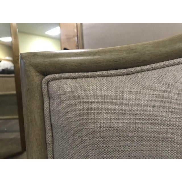 Henredon Furniture 1945 Collection Catherine Grey Makore Upholstered King Panel Bed For Sale - Image 10 of 12