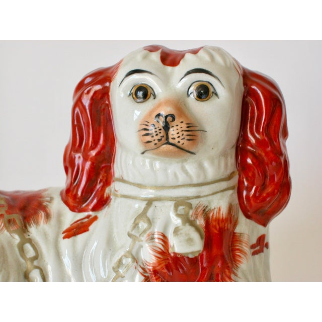 Vintage Mid-Century Staffordshire Style Spaniel Figurines - A Pair For Sale - Image 9 of 10