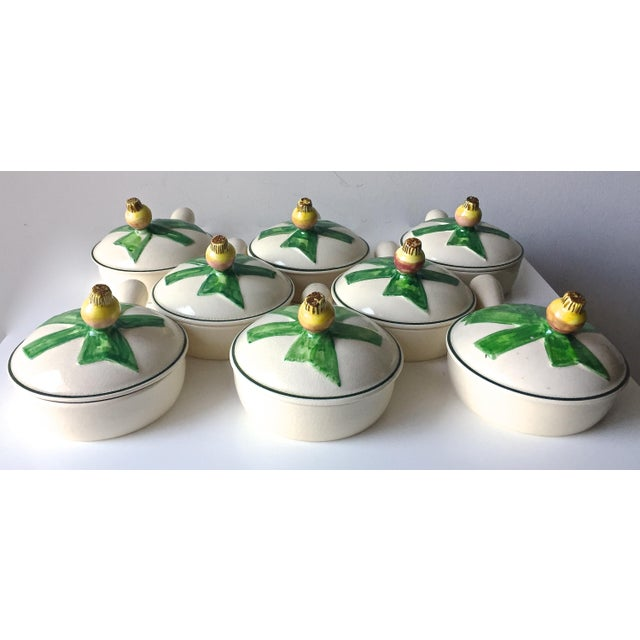 Green 8 Vintage Onion Soup Covered Dishes For Sale - Image 8 of 9