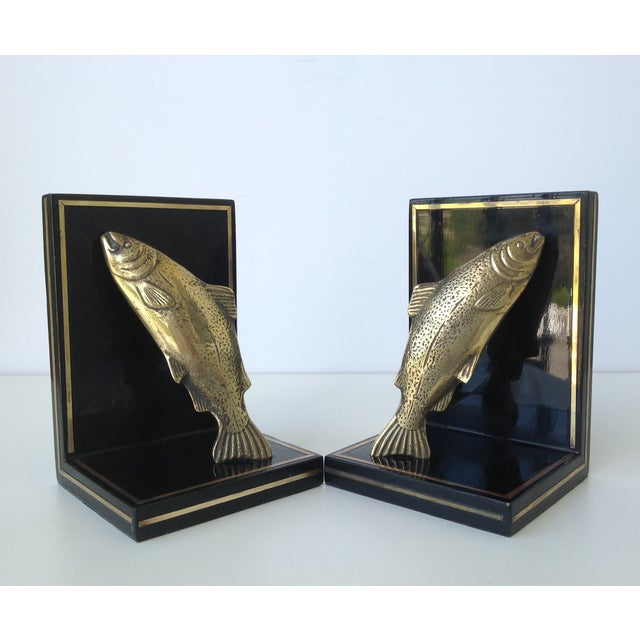 Brass Trout Fish & Wood Bookends - A Pair For Sale - Image 4 of 11