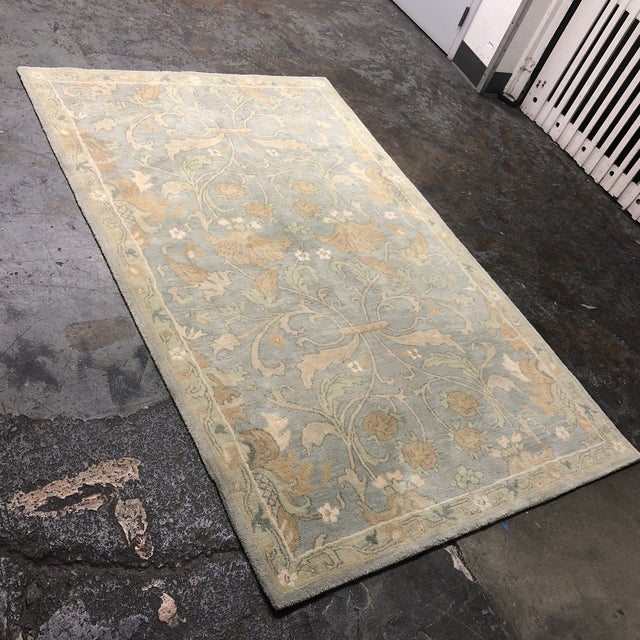 "Contemporary Pottery Barn Hand-Tufted Wool ""Darby"" Slate Blue Area Rug - 5' x 8' For Sale - Image 3 of 9"