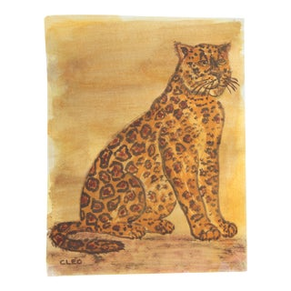 Leopard Painting in Old Master Colors by Cleo Plowden For Sale