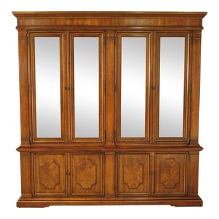 Drexel Heritage Continental Style Walnut Breakfront China Cabinet